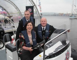 Pictured at the Boat Naming Ceremony on 25 June on the River Foyle are (back) Western Area Commander Trevor Ferguson, Mayor of Derry Cllr Brenda Stevenson and Chief Fire Officer Chris Kerr.